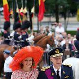 21. Juli 2014: Nationalfeiertag in Belgien: Königin Mathilde und König Philippe kommen an der Sainte-Gudule Kathedrale in Brüssel an, wo ein Gottesdienst stattfindet.