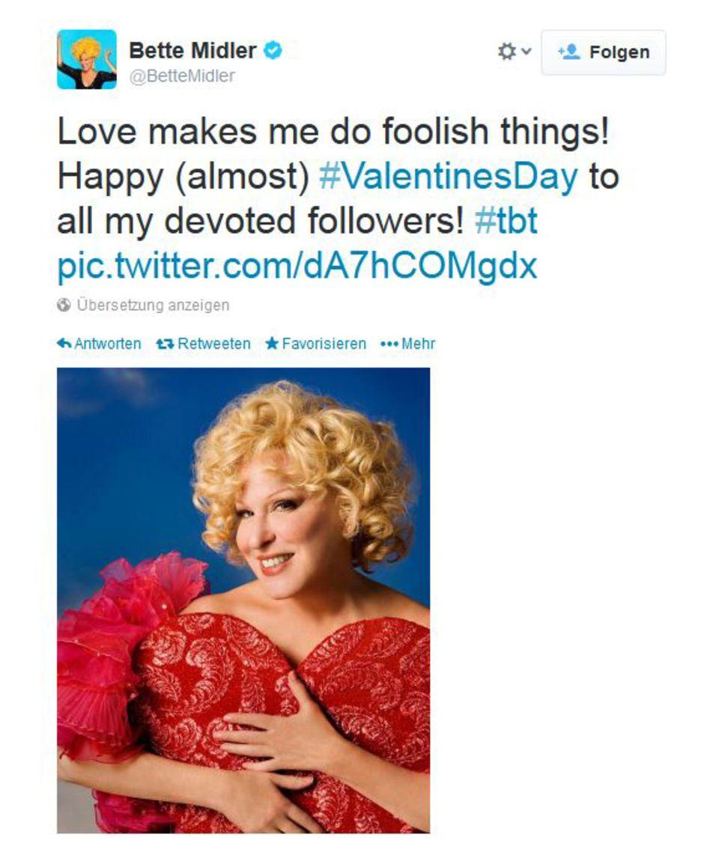 Auch von Bette Midler gibt es Valentinsgrüße.