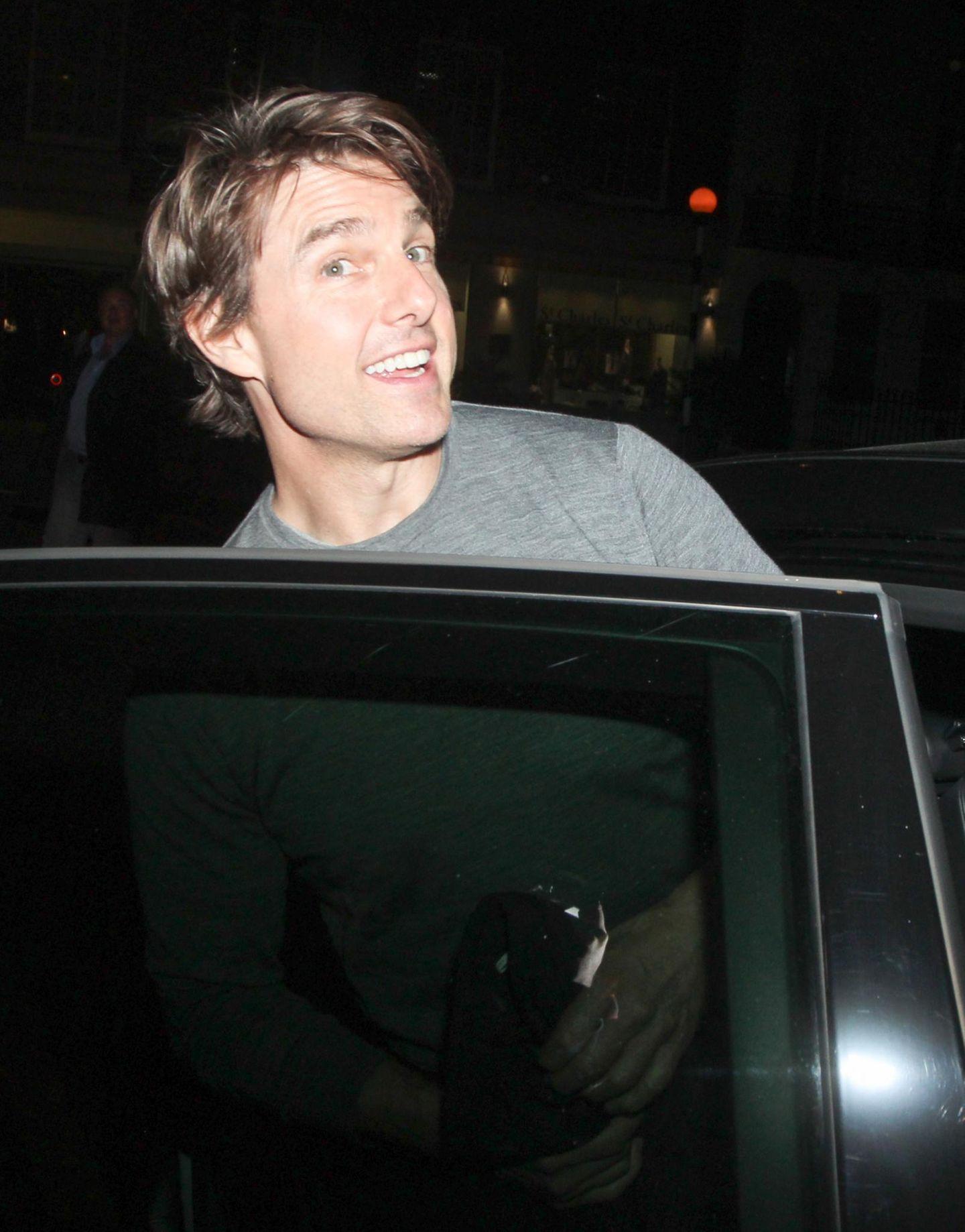 "9. Juli 2014: Tom Cruise verlässt das ""Little House Restaurant"" in Mayfair, London."