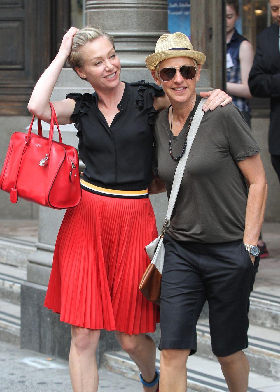 19. Juni 2014: Ellen DeGeneres und Ehefrau Portia de Rossi sind in New York City auf der Suche nach neuen Möbeln.