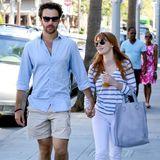 17. August 2014: Jessica Chastain schlendert mit ihrem Partner Gian Luca Passi durch Beverly Hills.