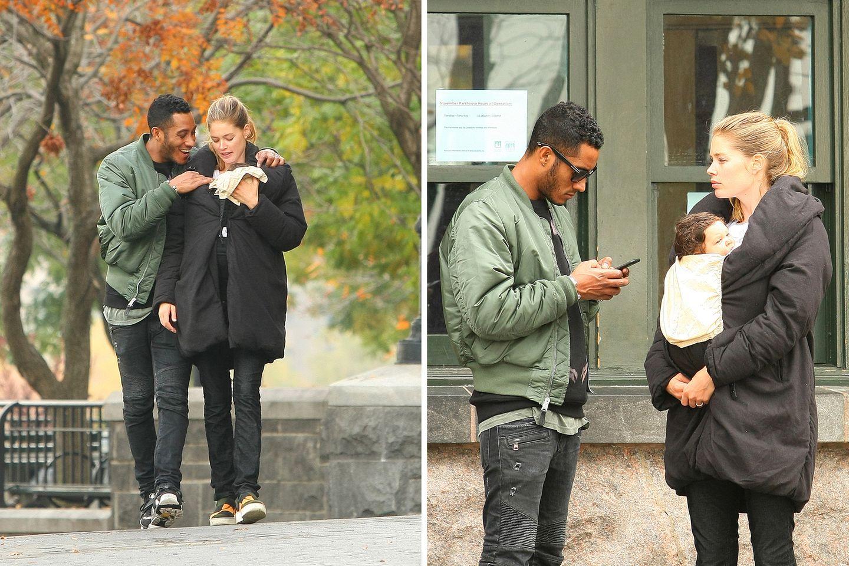 11. November 2014: Doutzen Kroes und Sunnery James sind mit ihrer Tochter Myllena Mae in einem Park am Hudson River unterwegs.