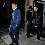 10. Juli 2014: Jeremy Renner und Chris Evans verlassen in den frühen Morgenstunden das Chitern Firehouse Hotel in London.