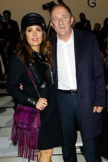 Salma Hayek und ihr Mann François-Henri Pinault sind bei Fashion-Shows immer gern gesehene Gäste, auch bei der von Gucci.