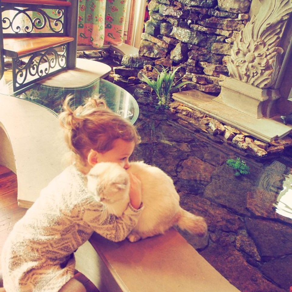 Für einen langen Moment umarmt die kleine Tochter von Lily Aldridge die Katze von Taylor Swift und bemerkt gar nicht wie sie dabei fotografiert wird.