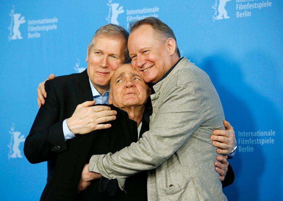 """Regisseur Hans Petter Moland und die Schauspieler Bruno Ganz und Stellan Skarsgard stellen ihren Film """"Kraftidioten"""" vor und haben dabei sehr viel Spaß."""