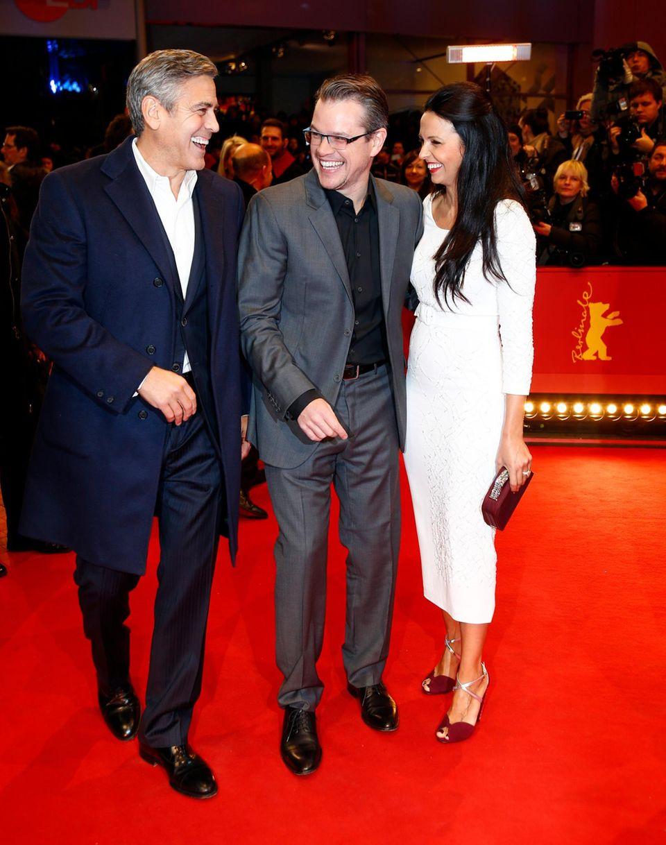 George Clooney mit Matt Damon und dessen Frau Luciano Barroso