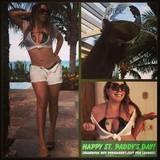Im grünen Bikini und mit Kleeblatt-Tattoo posiert Mariah Carey für ihr Feiertagsposting auf Instagram.