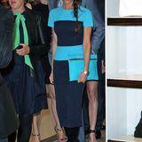 In einer Kreation ihres eigenen Labels beweist Victoria Beckham Stilgespür. Das zurückhaltende Marineblau ihres Kleides wird durch die Kombination mit leuchtendem Türkis ein Hingucker.