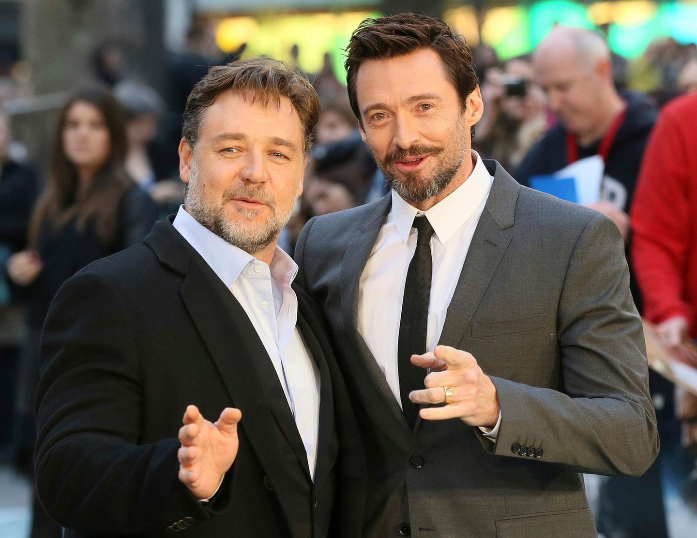 """Hugh Jackman unterstützt seinen Landsmann Russell Crowe bei der London-Premiere. Jackman ist gerade in England, um seinen Film """"X-Men: Zukunft ist Vergangenheit"""" zu promoten."""