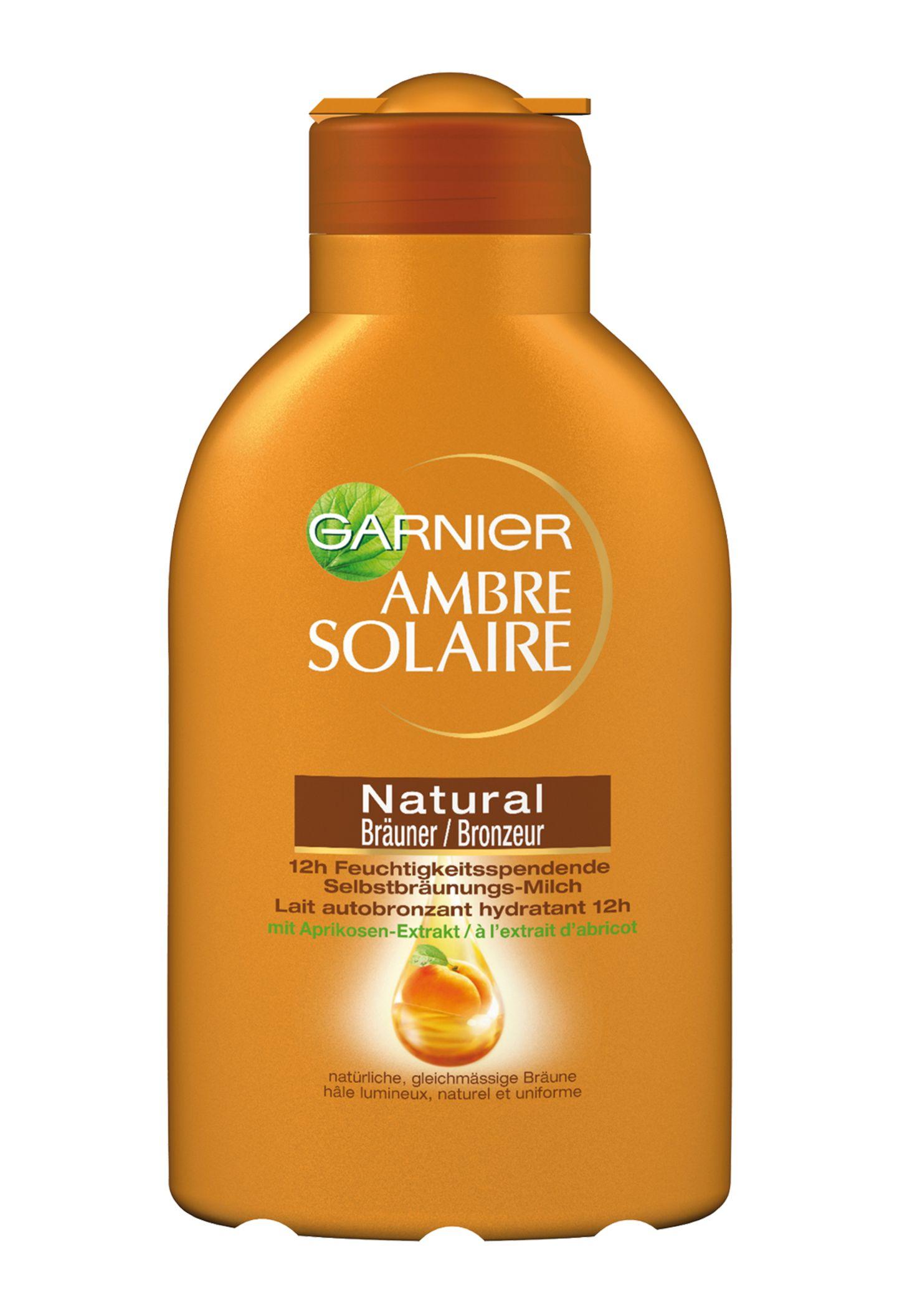 """Pflegt mit Aprikosenextrakt: """"Ambre Solaire Selbstbräunungs- Milch"""" von Garnier, 150 ml, ca. 7 Euro"""