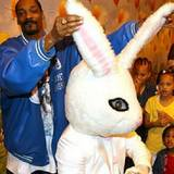Mit aufrechten Ohren ist der Osterhase fast so groß wie Snoop Dogg selbst.