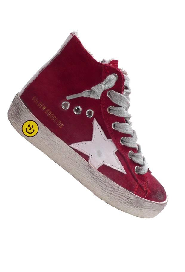 Vintagelook: rote Sneaker von Golden Goose Deluxe Brand, ca. 145 Euro