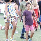 Solange Knowles geht mit ihrem Sohn Daniel und ihrem aktuellen Freund Alan Ferguson übers Festivalgelände.