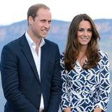 Prinz William und Herzogin Catherine lächeln für die Fotografen.