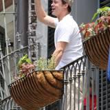 ... entdeckt er Brad Pitt, der gut gelaunt winkt.