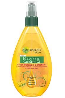 """Strafft die Konturen: """"Body Tonic Cellulite-Öl"""" mit Zitrusauszügen. Von Garnier, 150 ml, ca. 7 Euro"""
