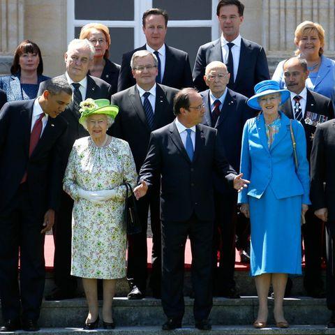 Posieren für ein Gruppenfoto: Barack Obama, Queen Elizabeth, François Hollande, Königin Margrethe von Dänemark und Wladimir Putin.