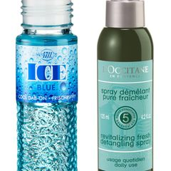 """Cool down! Erfrischung gefällig? Wenn uns die Hitzewelle überrollt und noch kein Meer in Sicht ist, ersetzen diese Frischmacher eine kühle Brise.   Links: Für die sofortige Abkühlung: """"Ice Blue Cool Dab-On"""" von 4711, 40 ml, ca. 6 Euro; Rechts: Minzige Pflege für das Haar: """"Spray Démêlant Pure Fraîcheur"""" von L'Occitane, 125 ml, ca. 17 Euro"""
