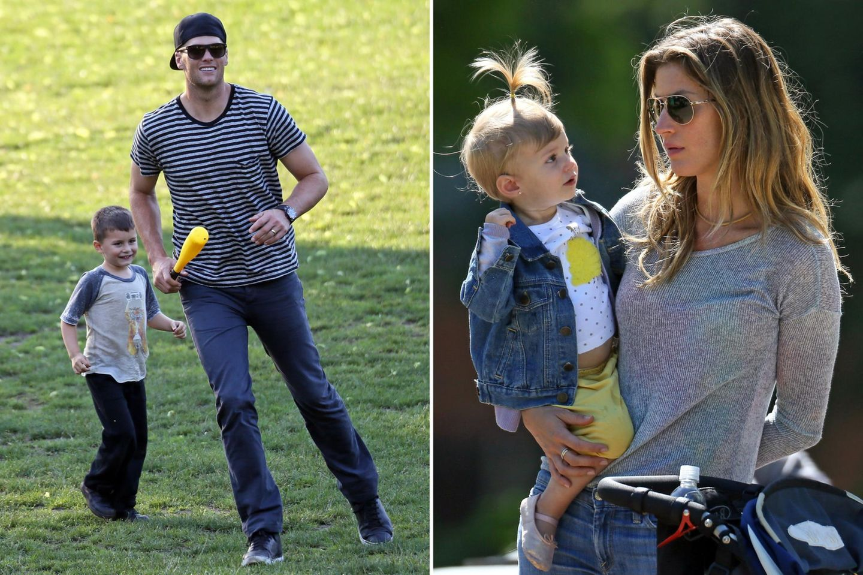 Tom Brady und Gisele Bundchen verbringen den Vatertag mit ihren Kindern im Park.