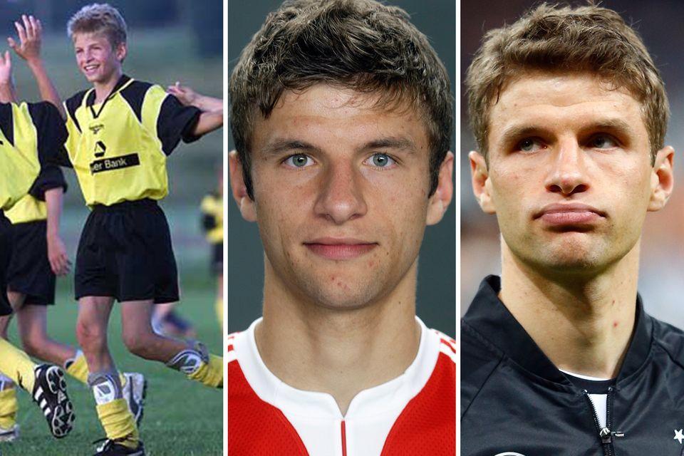 Thomas Müller  2000 im Alter von 11 Jahren, 2009 mit 20 und 2016 mit 26