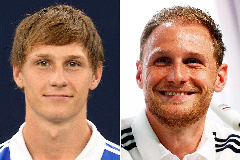 Benedikt Höwedes  2007 im Alter von 19 Jahren und 2014 mit 26