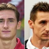 Miroslav Klose  2000 im Alter von 22 und 2014 mit 36