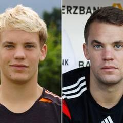Manuel Neuer  2005 im Alter von 19 Jahren und 2014 mit 28