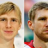 Per Mertesacker  2005 im Alter von 20 Jahren und 2014 mit 29