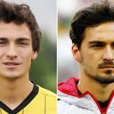 Mats Hummels  2008 im Alter von 19 Jahren und 2014 mit 25
