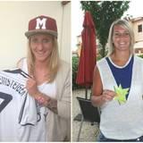 Die Nationalspielerinnen Anja Mittag und Lena Goeßling drücken die Daumen.