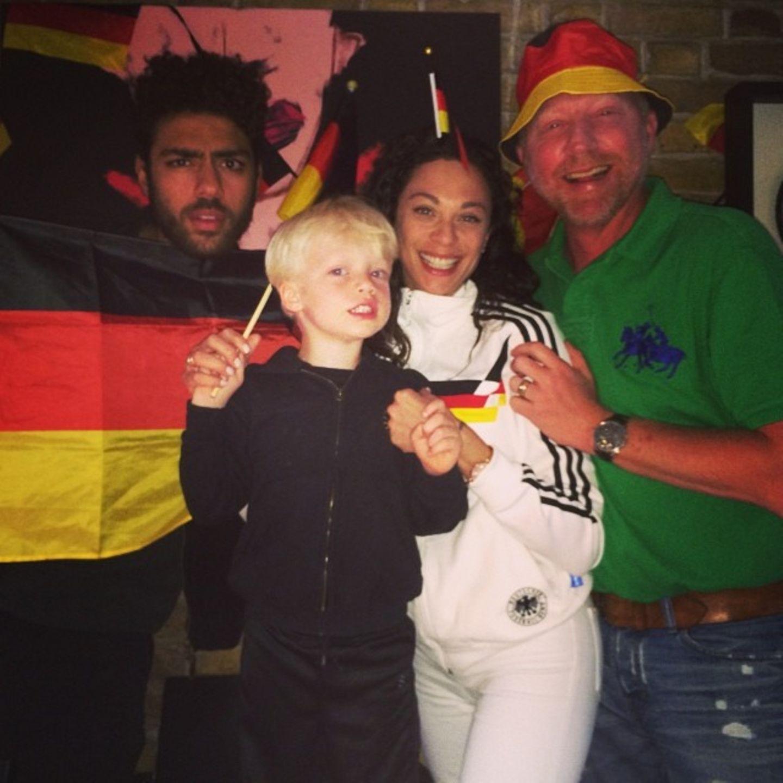 Noah, Amadeus, Lilly und Boris Becker fiebern mit der deutschen Mannschaft.