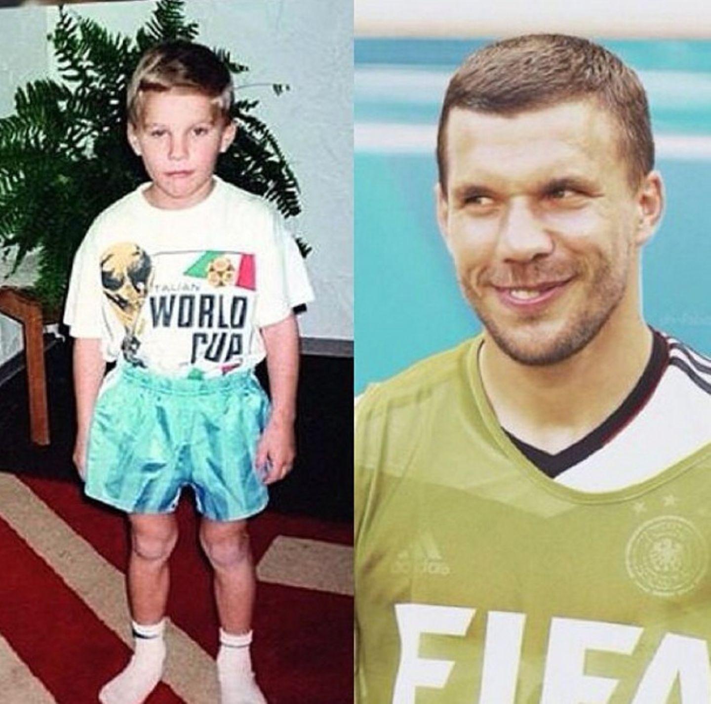"""The same Poldi. The same dream. 1990-2014!!"", kommentiert Lukas Podolski sein Instagram-Foto."