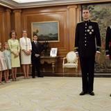 Die spanische Königsfamilie: Königin Letizia, Prinzessin Leonor, Prinzessin Sofia, Königin Sofia, Elena von Spanien und ihr Sohn Don Felipe Juan Froilan und König Felipe mit König Juan Carlos.