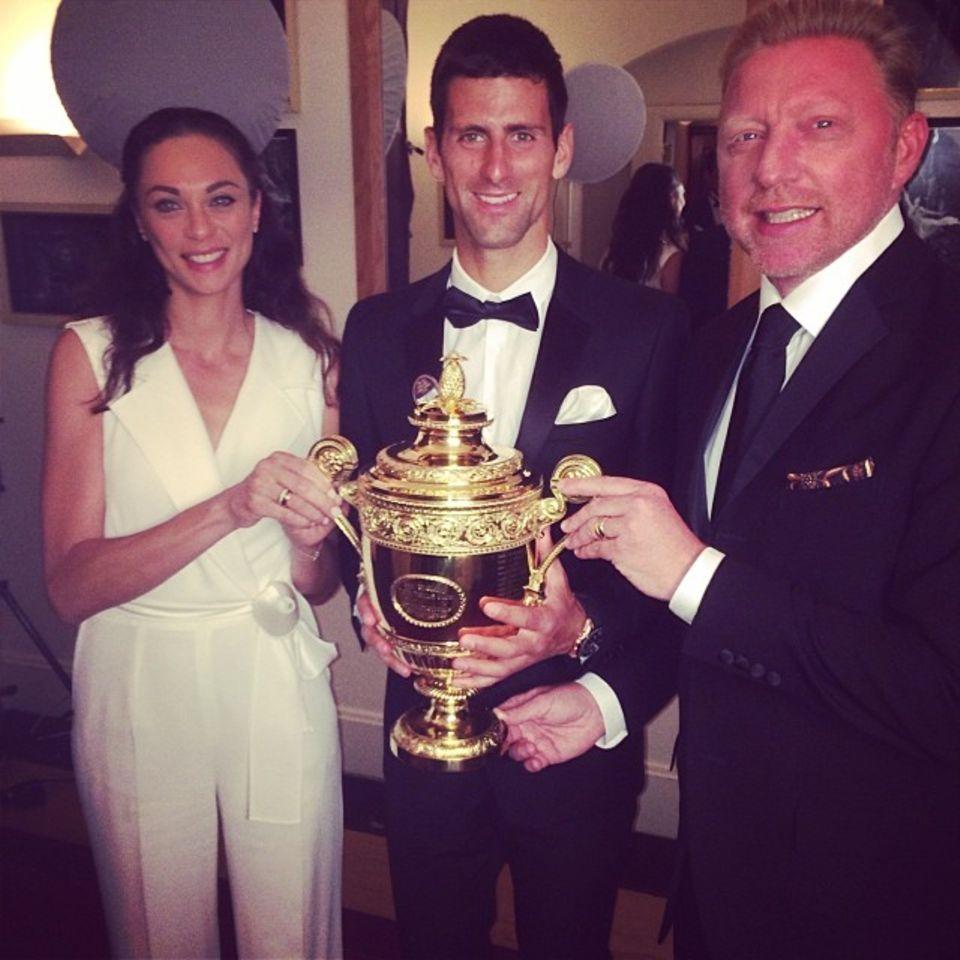 Lilly und Boris Becker sind stolz, dass Novak Djokovic gewonnen hat.