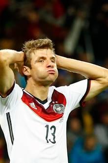 Thomas Müller nach einer verpassten Torchance
