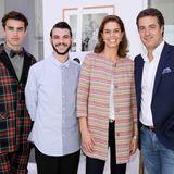 """Kerstin Pooth und Christian Hupertz (r.) von Peek & Cloppenburg freuen sich mit dem diesjährigen """"Designer for Tomorrow""""-Gewinner Matteo Lemandini (2.v.l.)."""