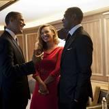 """19. September 2012: US-Präsident Barack Obama und Jay-Z verstehen sich auf dem """"Fundraiser Event"""" für die Wiederwahl Obamas in N"""