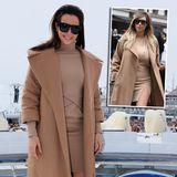 Hat J.Lo jetzt als Style-Vorbild etwa ausgedient? Mit Kamelhaarmantel und farblich passendem Etuikleid erinnert Mandy Capristos Outfit ziemlich an den Look von Kim Kardashian. Sogar Sonnenbrille und die zurückgegelten Haare sind dem Styling des Reality-TV-Stars sehr ähnlich.