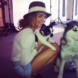 09. Februar 2013: Nicht nur ihre Hunde trägt sie gerne, auch knappe Jeans-Shorts sieht man an Mandy Capristo regelmäßig.