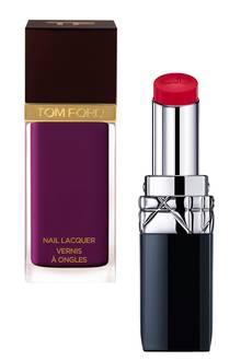 "Links: ""Nail Lacquer – Nr. 10 Viper"" von Tom Ford, ca. 32 Euro. Rechts: ""Rouge Dior Baume"" von Dior, in 14 Nuancen, je ca. 35 Euro"