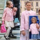 Wie süß! Zum Gottesdienst trägt Estelle eine Jacke von ihrer Tante Madeleine. Die trug das rosa Jäckchen bereits 1988. Auch Estelles Mama Victoria hatte früher das gleiche Modell in ein paar Nummern größer an.