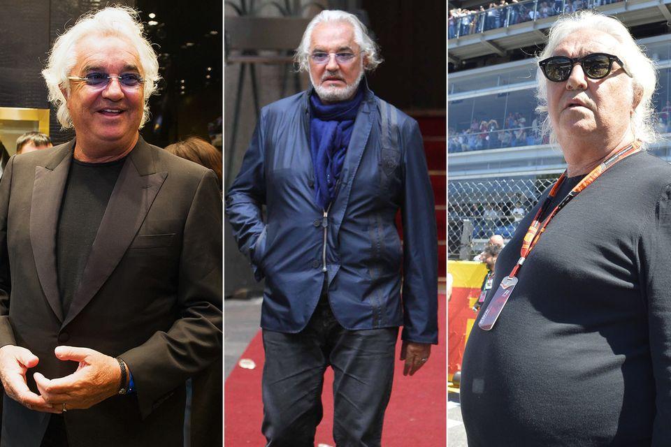 Flavio Briatore, 66, ist mit der 30 Jahre jüngeren Elisabetta Gregoraci verheiratet. Sie ist sicher ein Ansporn, seine Problemzone Bauch, in Angriff zu nehmen. Positivier Effekt dabei, er wirkt jünger und gesünder.