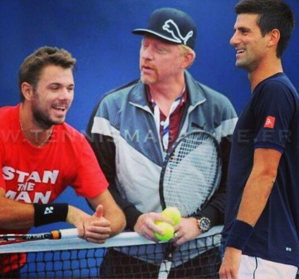Stanislas Wawrinka, Boris Becker und Novak Djokovic