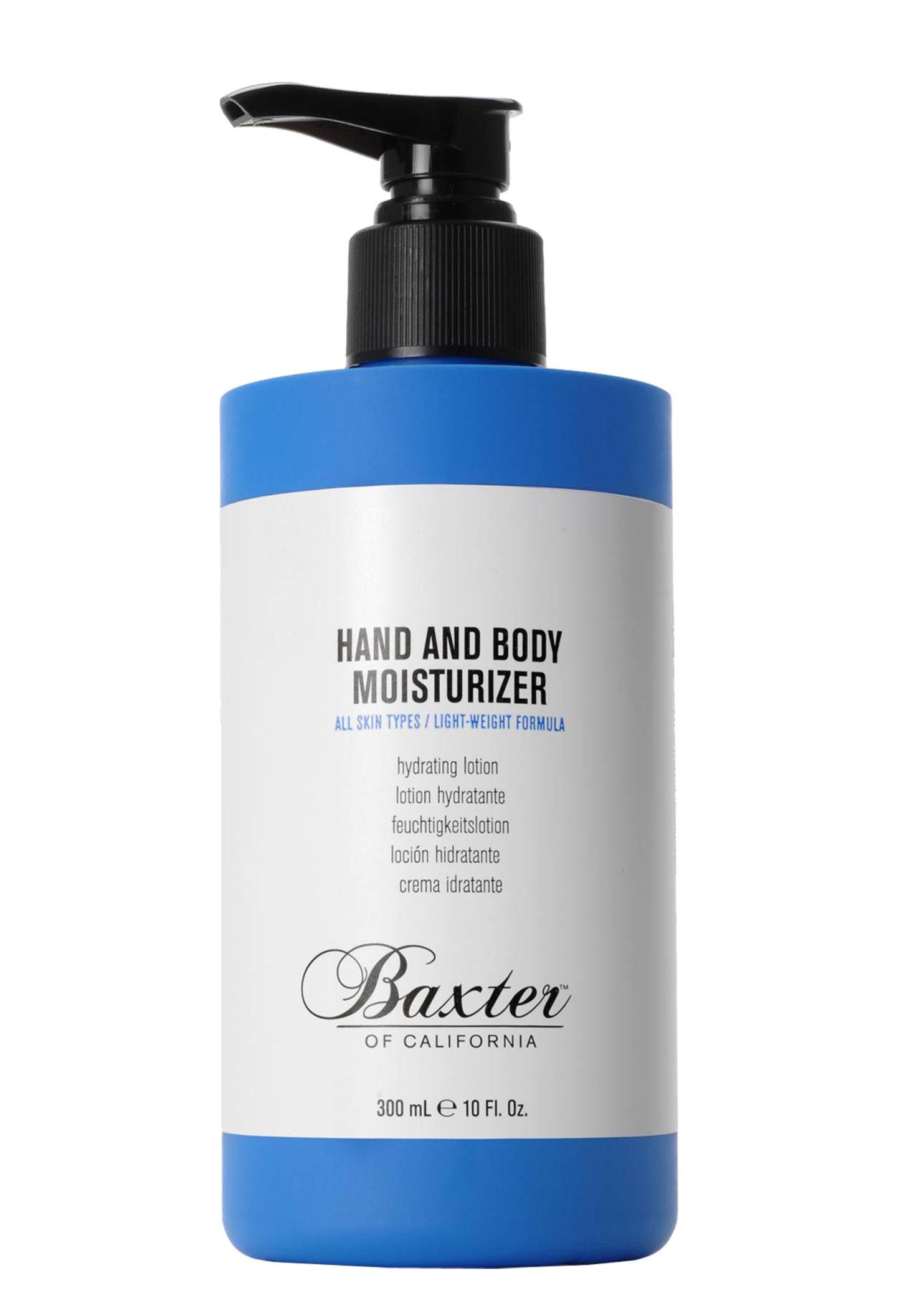 """Praktische Multipflege: """"Hand and Body Moisturizer"""" von Baxter of California, 300 ml, ca. 20 Euro"""