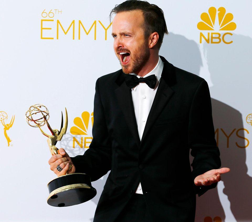 """Aaron Paul freut sich riesig: Er wird für seine Rolle des """"Jesse Pinkman"""" in """"Breaking Bad"""" ausgezeichnet."""