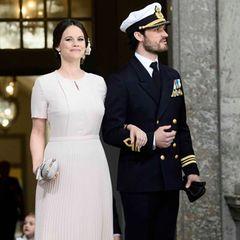 Prinzessin Sofia wohnte der Feier von König Carl Gustaf tagsüber in einem zart roséfarbenem Kleid von Hugo Boss bei.