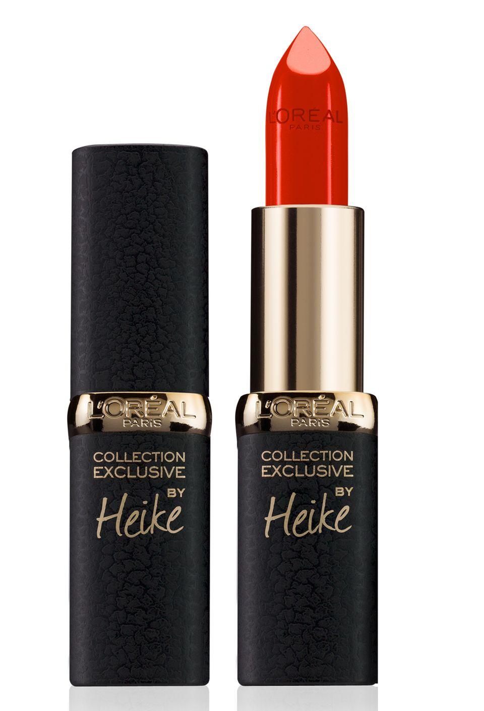 """Für die """"Collection Exclusive Color Riche"""" von L'Oréal Paris wählte Heike Makatsch als ihren persönlichen Lieblings-Rotton ein warmes Signalrot: """"Nuance CP08"""", ca. 10 Euro, limitiert"""