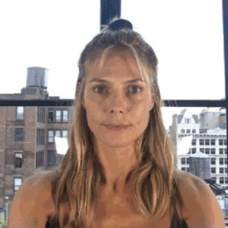 So sieht Heidi Klum aus, bevor ihr Halloween-Kostüm entsteht.