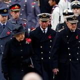 9. November 2014: Mit ernster Miene folgt Prinz William Queen Elizabeth, Prinz Charles und Prinz Philip am Gedenksonntag zum Gottesdienst, der am Kenotaph in London gefeiert wird.